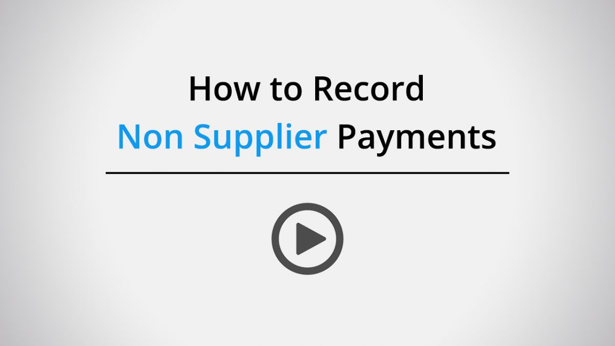 How to record non supplier payments