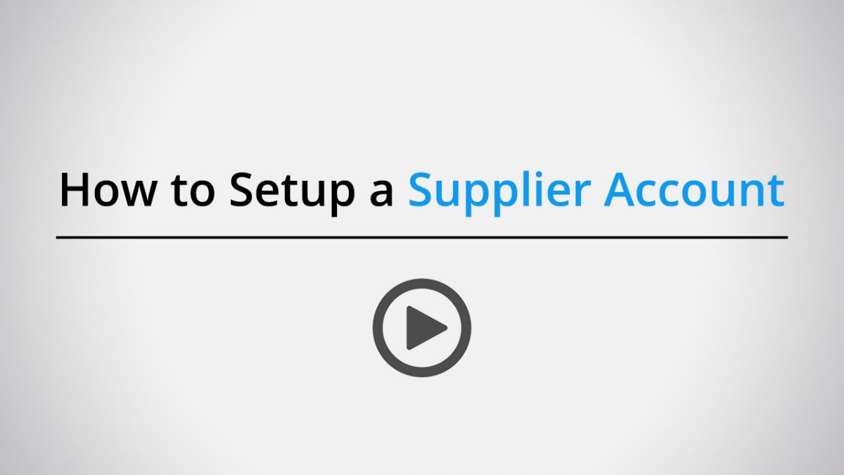 How to setup a supplier account