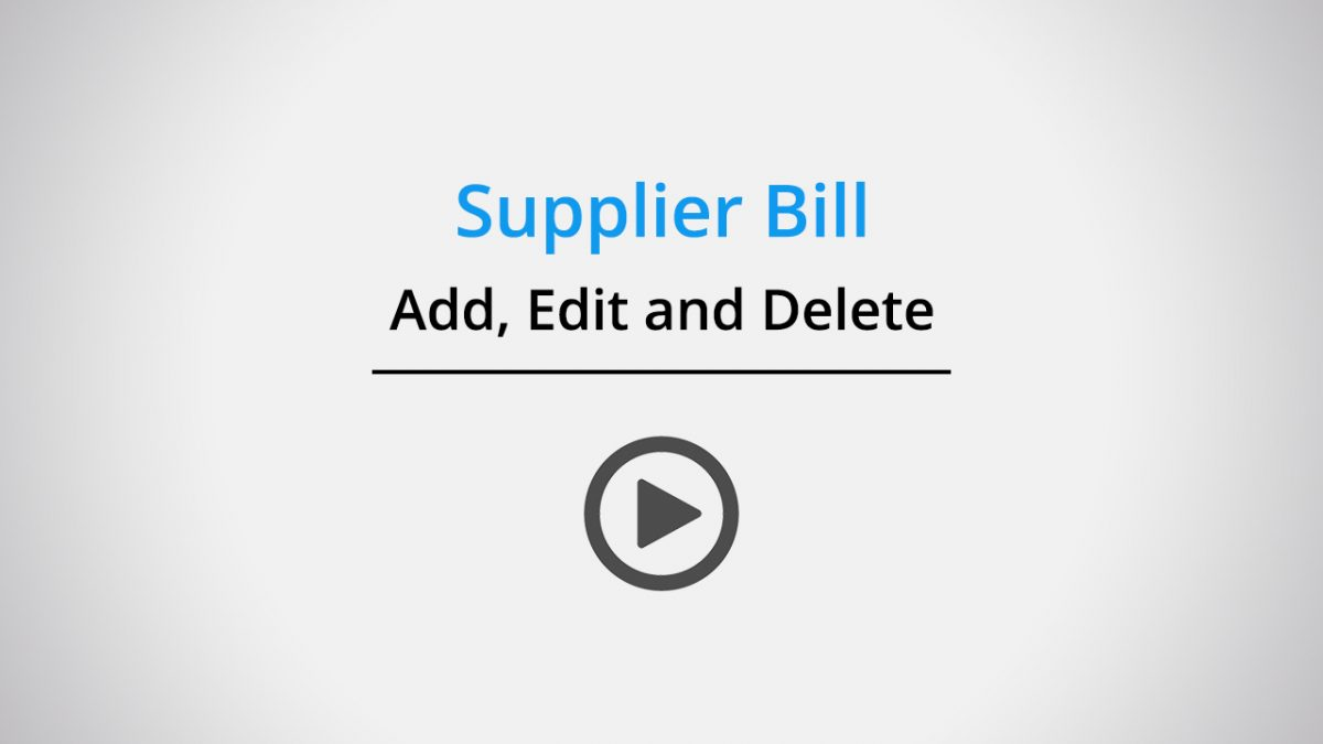 Supplier bill