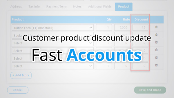 Customer product discount update
