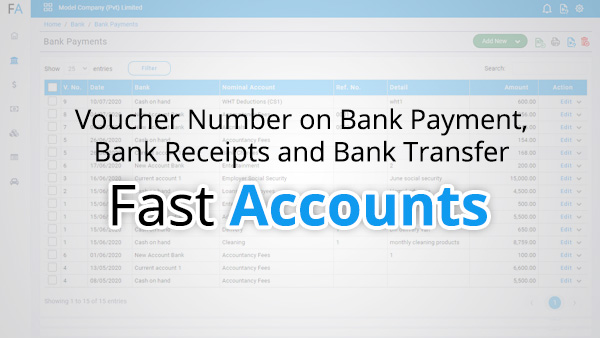 Voucher Number on Bank Payment, Bank Receipts and Bank Transfer
