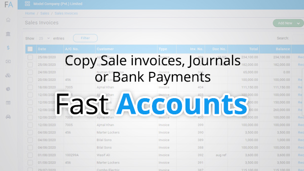 Copy sale invoices, Journals or bank payments