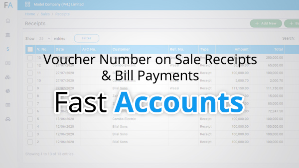 Voucher number on sale receipts and bill payments